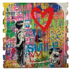 With All My Love by Mr. Brainwash - Original Painting on Box Board sized 40x40 inches. Available from Whitewall Galleries